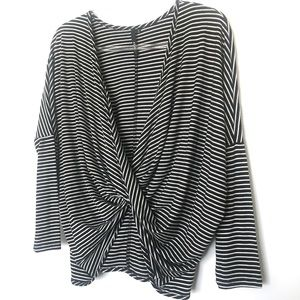 Event Tops - Event Long Sleeve Striped Draped Front Top